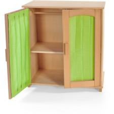 Puppen-Schrank Holz natur,m.Stoffeinsatz