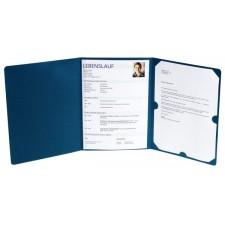 Bewerbungsmappe 3teilig Leder optik blau