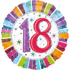 Folienballon 18. Geburtstag Holografie Happy Birthday inkl. Helium
