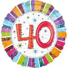 Folienballon 40. Geburtstag Holografie inkl. Helium