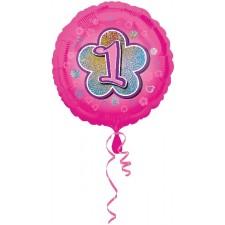 Folienballon Pink Flowers 1 inkl. Helium