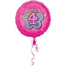 Folienballon Pink Flowers 4 inkl. Helium