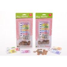 Spielgeld mit Münzen auf Karte