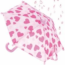 Götz 3402022 Regenschirm für Puppen, rosa Herzchen