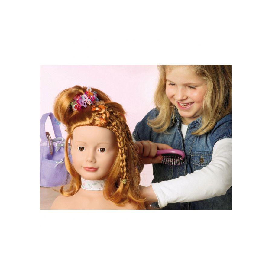 Götz 1192054 Schminkkopf mit Zubehör, Haarwerk rot