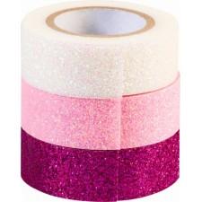 GlitterTape pink 3er