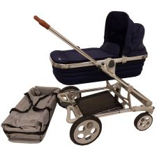 Seed Papillo silver + Seat + Carry Cot navy + Zubehör