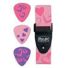 FAD Gitarrenzubehör Gurt & Plättchen pink hearts