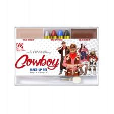 MAKE UP SET COWBOY (4 Make up Stifte, hautfarbenes und braunes Makeup in Schale, Pinsel)