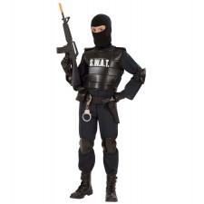 S.W.A.T. OFFICER (Overall, Schusssichere Weste, Gürtel mit Halfter und Tasche, Knieschützer, Ellenbogenschützer, Maske)