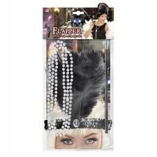 CHARLESTON SET (Stirnband, Perlenkette, Zigarettenhalter)