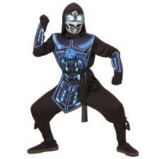 CYBER NINJA (Oberteil mit Kapuze, Rüstung, Gürtel, Armschoner, Maske mit leuchtenden Augen & 3 Rob