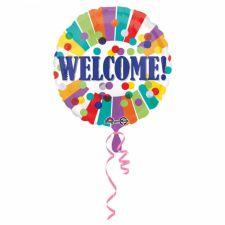 Folienballon, rund Welcome - Punkte u. Streifen, incl. Helium