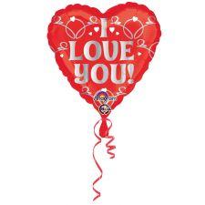 Folienballon Standard I love you silber inkl. Helium