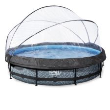 EXIT Frame Pool ø360x76cm (12v) – Grau + Sonenndach inkl. Kartuschenfilteranlage