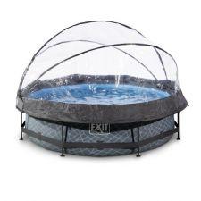 EXIT Frame Pool ø300x76cm (12v) – Grau + Sonnendach inkl. Kartuschenfilteranlage