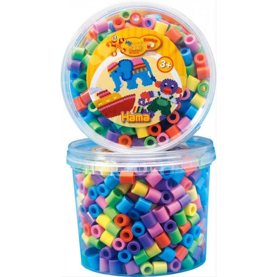 HAMA Bügelperlen Maxi - Dose Pastell Mix 600 Perlen (6 Farben)