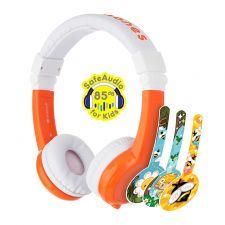BuddyPhones Kopfhörer Explore faltbar mit Mikro weiß/orange