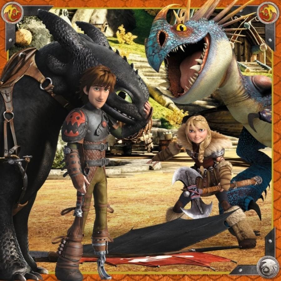 Ravensburger 92581   Puzzle Dreamswork Dragons Drachenreiter 3 x 49 Teile