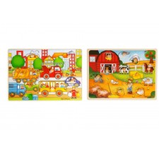 SpielMaus Holz Einlegepuzzle 7-10teilig, 2-fach sortiert