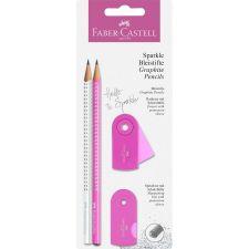 Schreibset Sparkle pearl pink/weiß
