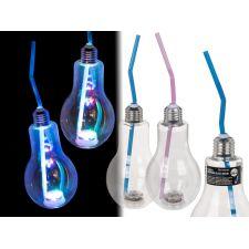 Kunststoff Trinkglas, Glühlampe mit LED