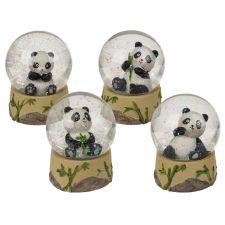 Polyresin Glitterkugel Sitzender Panda sort.
