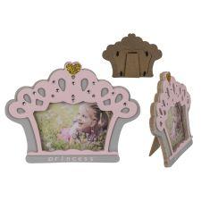 Holz Bilderrahmen Rosa/Grau Princess Crown