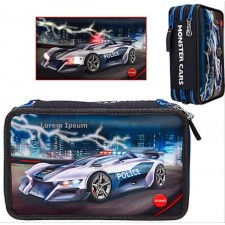 Monster Cars 3-fach Federtasche LED Polizeiauto