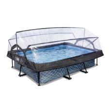 EXIT Frame Pool 300x200x65cm inkl. Kartuschenfilterpumpe (12v) – Grau und Sonnendach
