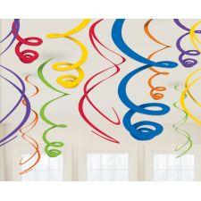 12 Deko Spiralen Regenbogen