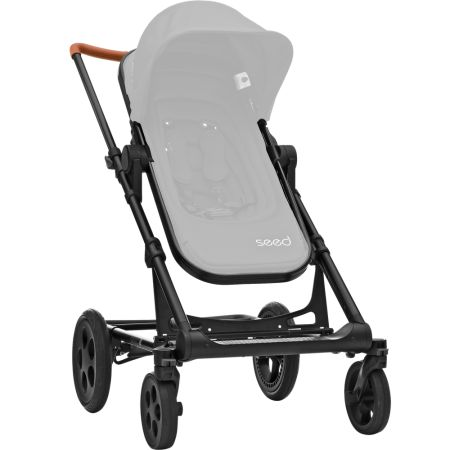 Seed Papilio Chassis all-black, handle leather look cognac + Seat  grey melange