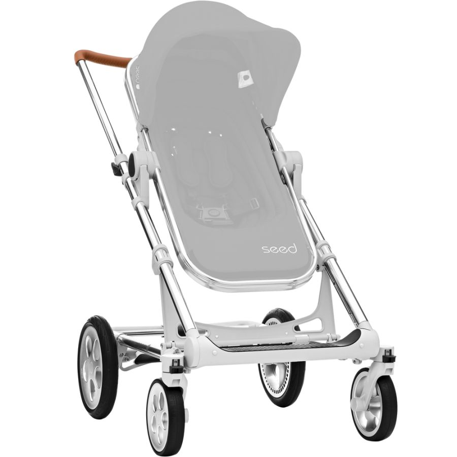 Seed Papilio Chassis silver, handle leather look cognac + Seat Navy