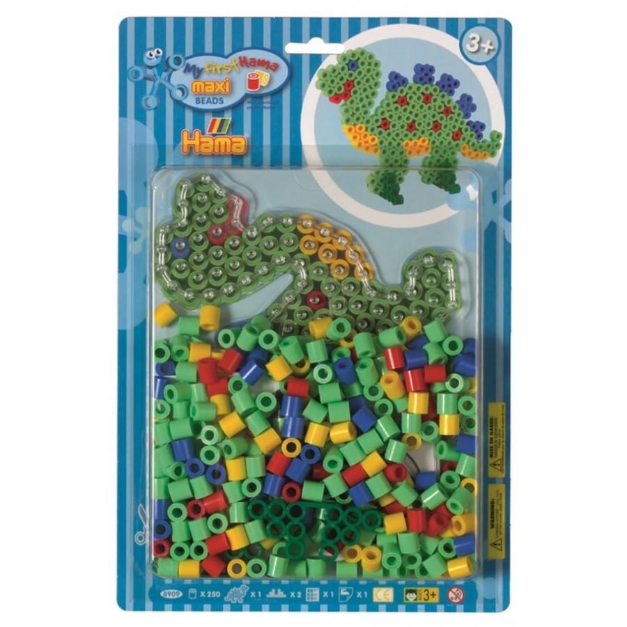 HAMA Bügelperlen Maxi - Blisterset Dino - 1 Stiftplatte Dinosaurier, 250 Perle