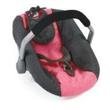 Puppenautositz melange anthrazit-pink