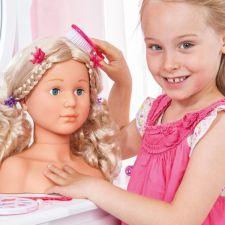 Frisierkopf SUPER MODEL 27cm mit Kosmetik blonde Haare