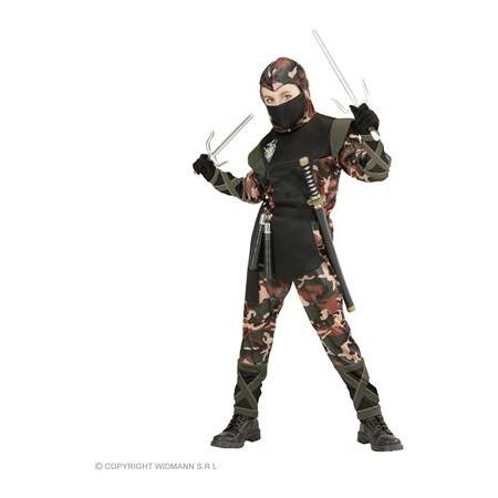 """SOLDAT NINJA"""" 128 - (Coat mit Kapuze und Bänder, Hose mit Bändern, Gürtel,Mundschutz)"""