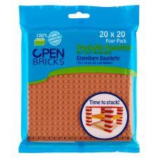 Open Bricks Baseplate 20x20 hellbraun