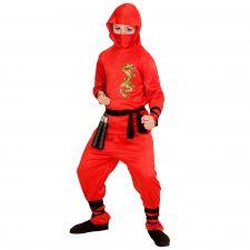 """RED DRAGON NINJA"""" 104 - (Oberteil mit Kapuze, Hose, Gürtel, Gesichtsmaske,Arm- und Beinbänder)"""