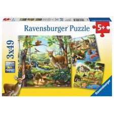Ravensburger 09265 Puzzle Wald-/Zoo-/Haustiere 3 x 49 Teile