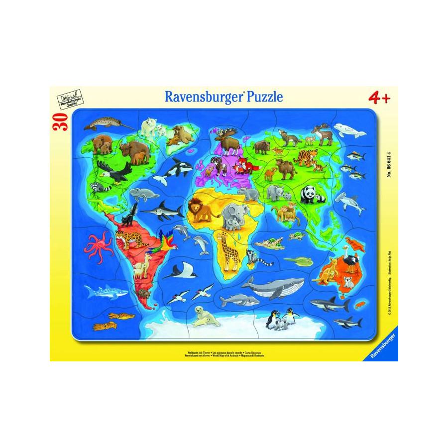 Ravensburger 66414  Rahmepuzzle Weltkarte mit Tieren 30 Teile