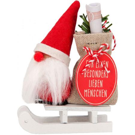 Weihnachtsgeld Wichtel auf Schlitten